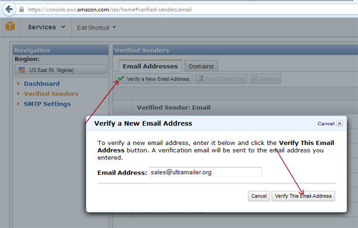 Verify the sender email address to Amazon SES
