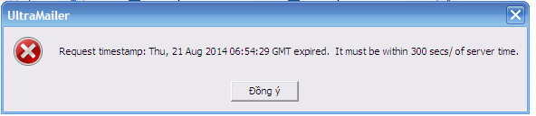 Request timestamp expired. It must be within 300 séc /of server time.