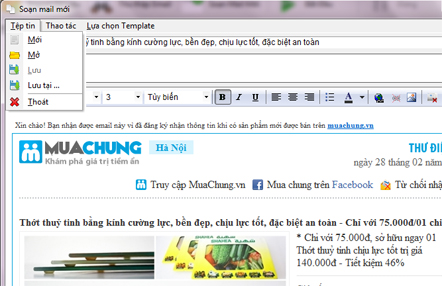 UltraMailer khung soạn thảo Email Marketing